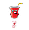 funny cartoon cute red paper cola cup with vector image