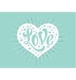 Hand lettering Love in white heart on a turquoise vector image