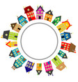 round frame with cartoon houses vector image