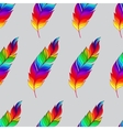 Seamless pattern with rainbow feathers vector image