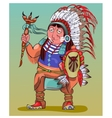 The American Indian in beautiful national clothes vector image