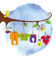 Baby born clothes hanging on the treeWatersolor vector image