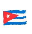 Cuban flag painted by brush hand paints Art flag vector image