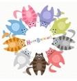 Cute cats Birthday card vector image vector image