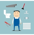 Plumber with tools and equipment vector image