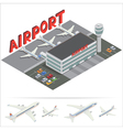 Isometric Airport Building Terminal Airplane vector image