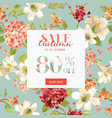 autumn sale floral hortensia banner for discount vector image