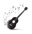 black guitar with notes isolated on white vector image