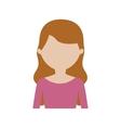 character woman pink shirt long hair vector image