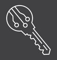 electronic key line icon security and access vector image