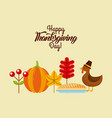 happy thanksgiving day poster dinner menu cake vector image