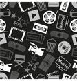 movie and cinema icons seamless dark pattern eps10 vector image