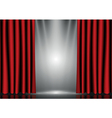 Red curtains on lighting stage vector image