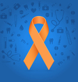 Orange ribbon over blue medical background vector