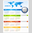 2014 Colourful Corporate Global Office Calendar vector image vector image