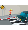 A young boy at the pedestrian lane vector image vector image