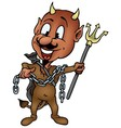 Brown Devil with Trident vector image