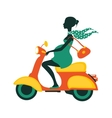 Pregnant woman driving scooter vector image