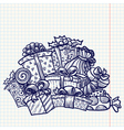doodle christmas gifts vector image