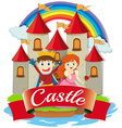 Prince and princess at the castle vector image