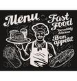 fast food template chalkboard menu for vector image