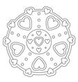 Coloring Simple Heart Mandala vector image