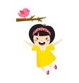 Beautiful romantic asian girl and bird cute vector image