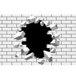 Brick wall break background Destroyed vector image