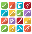 set of sixteen tools flat style icons vector image