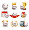 baseball ball icon set vector image vector image
