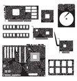 internal desktop computer components and circuits vector image