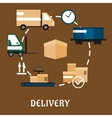 Delivery shipping and logistics flat icons vector image