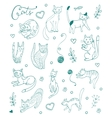 Set of hand drawn cats Blue silhouettes on white vector image