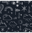 Seamless pattern with doodle sketch weather icons vector image