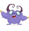 Cartoon purple monster with big horns vector image
