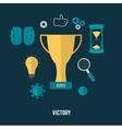 Golden trophy winner cup vector image