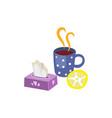 Hot drink with lemon napkins set isolated vector image