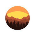 minimalistic round icon with silhouette of pine vector image