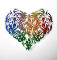 ornamental flowers heart vector image