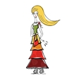 The blonde girl in gypsy dress with bag Linear vector image