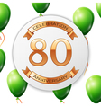 Golden number eighty years anniversary celebration vector image