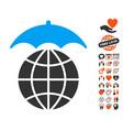 global umbrella icon with dating bonus vector image