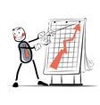 The businessman beside chart sales color vector image