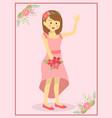 casual pink wedding bride vector image