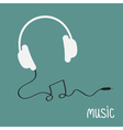 White headphones with black cord in shape of note vector image