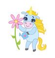 cartoon light blue unicorn with flower colorful vector image vector image