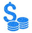 dollar coins grunge icon vector image