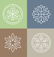 floral icons and logos vector image vector image