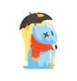 Blue Jelly Zombie Dog Monster Holding Orange vector image