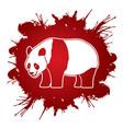 cartoon fat panda standing side view vector image